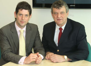 The telephone answering service's managing director David Jones with Father and director Nigel Jones